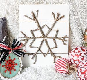 diy stick snowflake sign