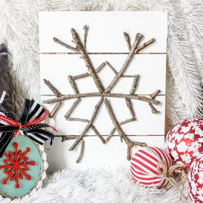 pottery barn inspired snowflake sign