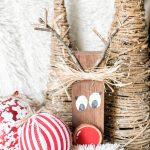 diy wood block reindeer