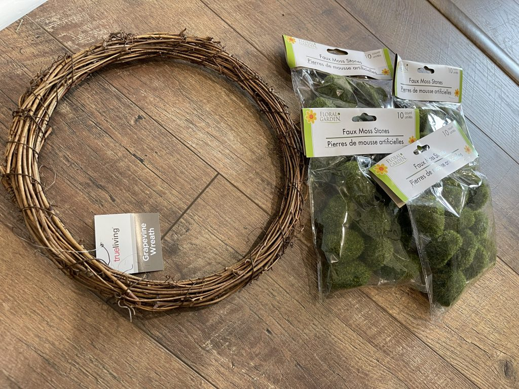 supplies needed to make the diy moss ball wreath