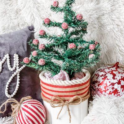 diy coffee can Christmas tree base