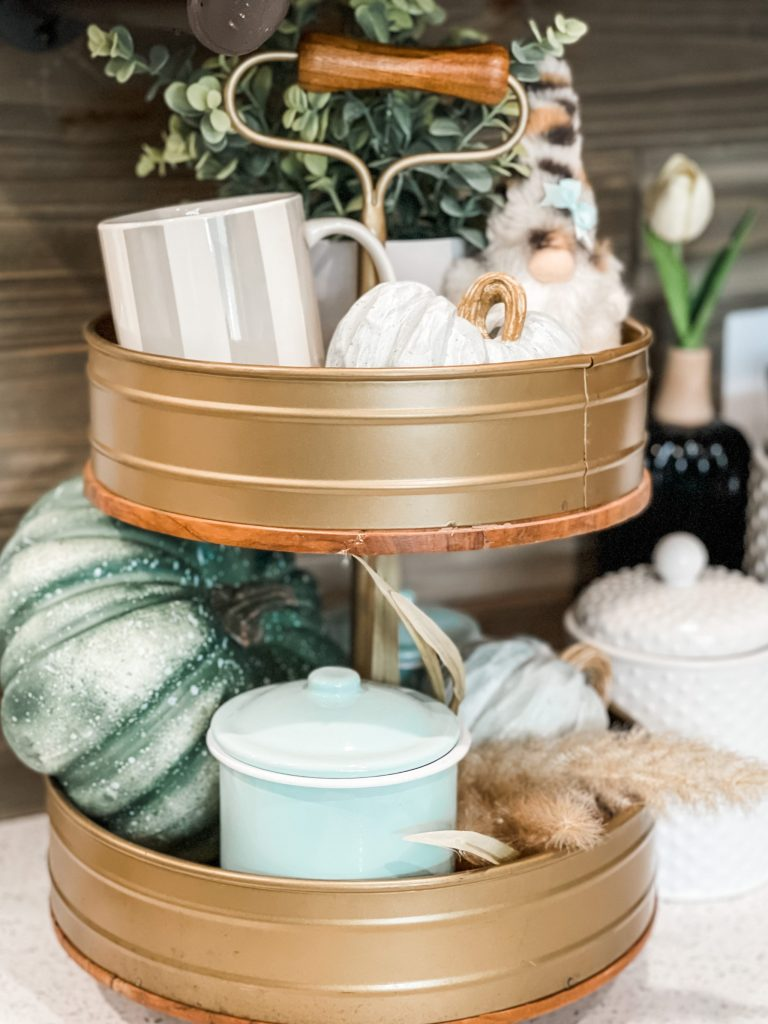 close up of tiered tray on fall coffee bar