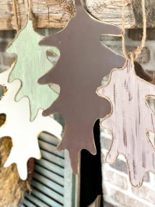 end result of the dollar tree cookie sheet leaf decor