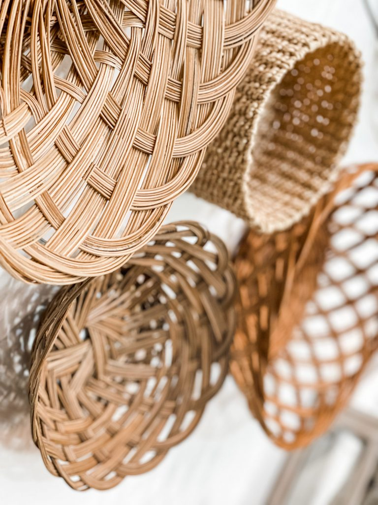 close up of basket wall over mantel