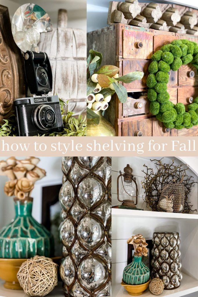 pinterest image for styling shelving units for fall