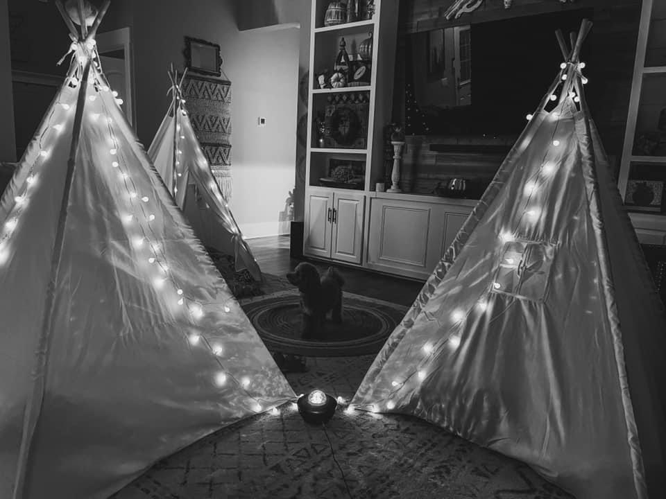 teepees at night