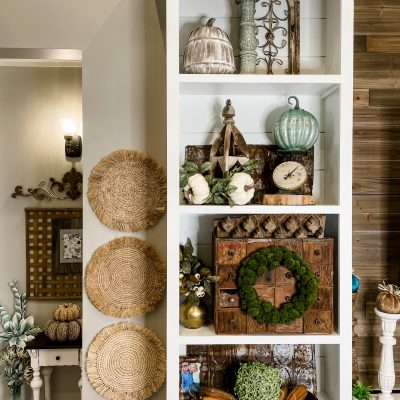 styling built-in shelving for Fall