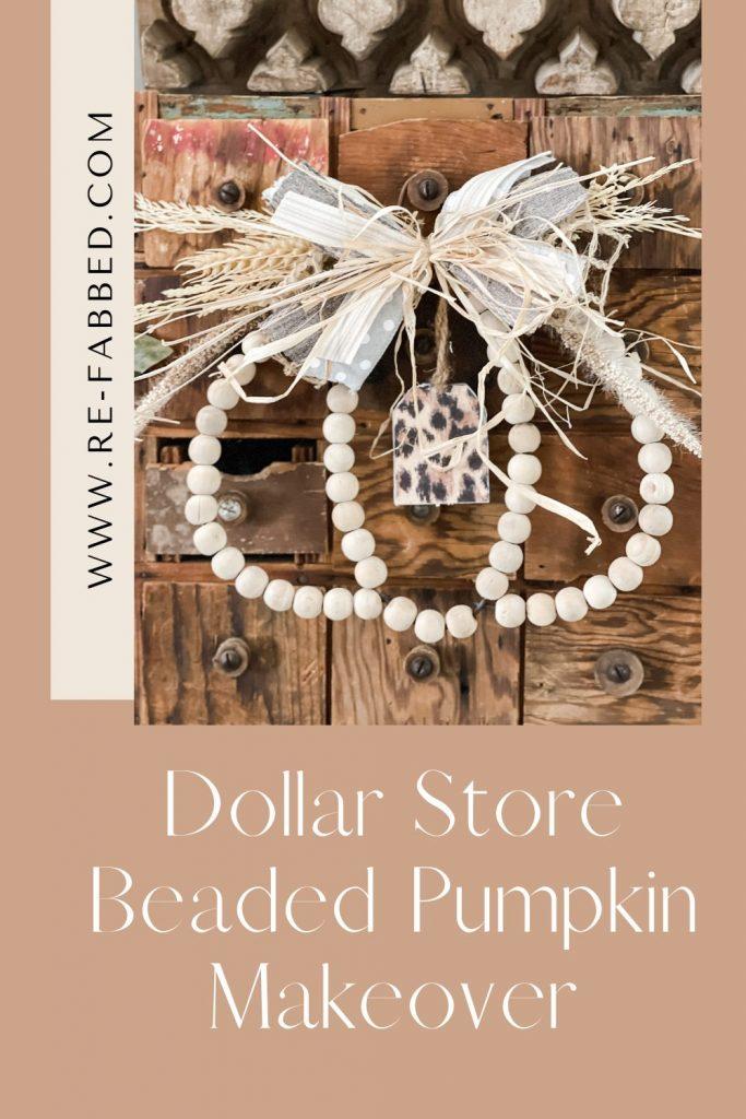 pinterest image of dollar store beaded pumpkin sign
