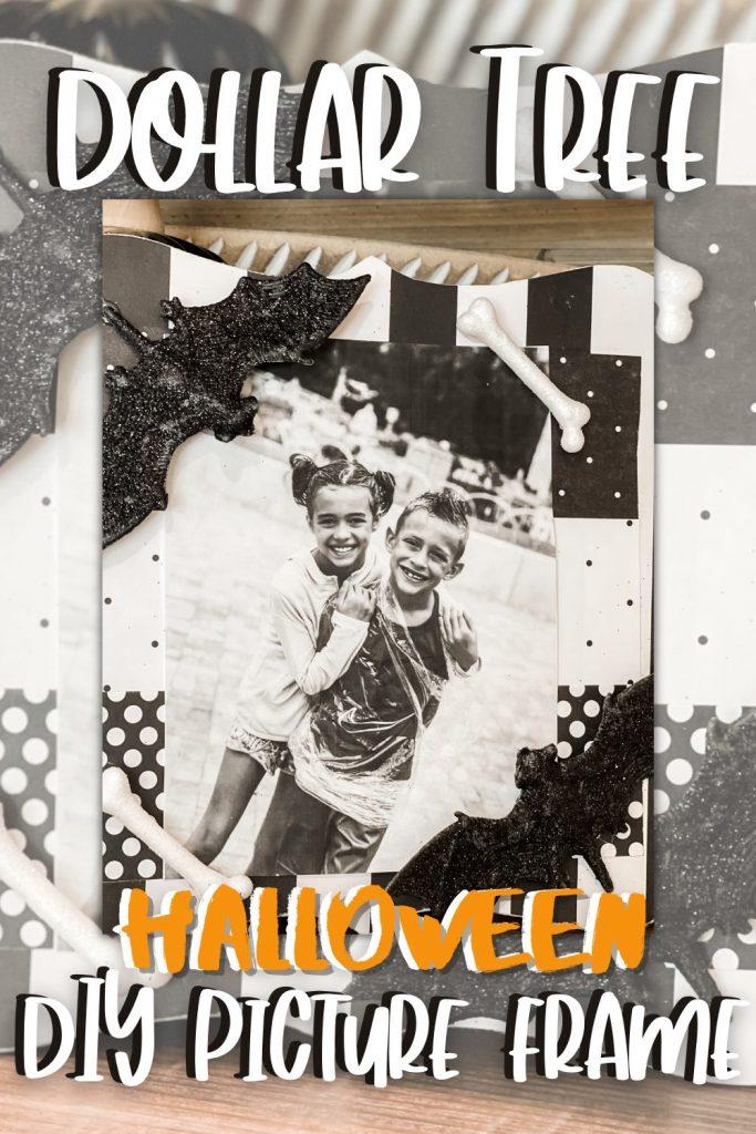 pinterest image for diy dollar tree halloween picture frame