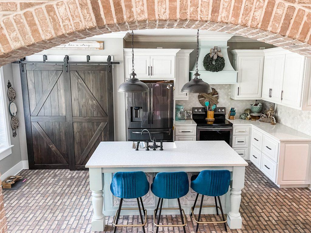 brick flooring in beautiful kitchen