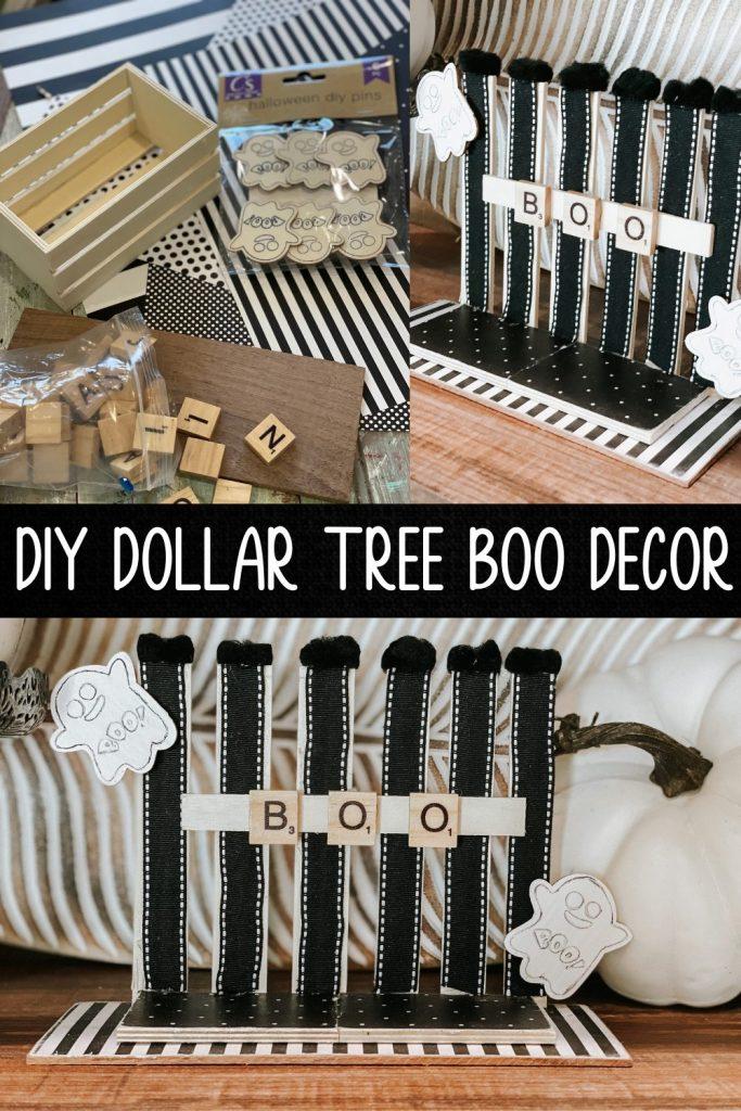 pinterest image for diy dollar tree boo decor