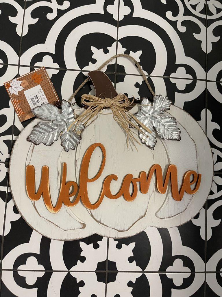 before of the welcome pumpkin door hanger from big lots