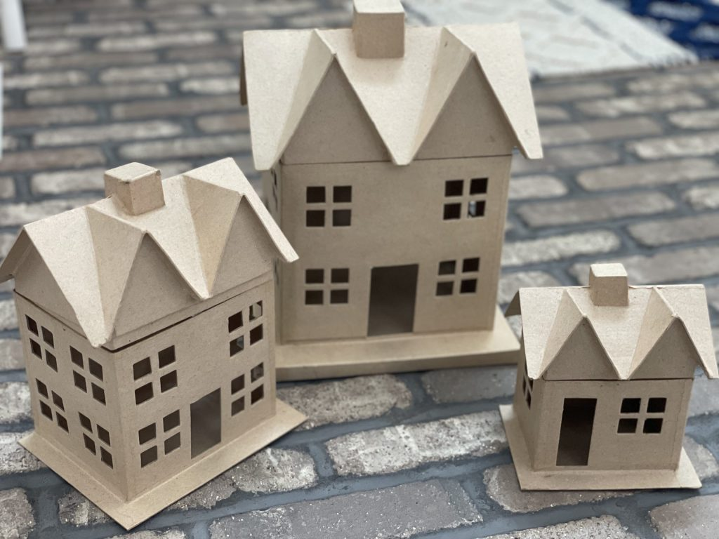 paper mache houses from hobby lobby