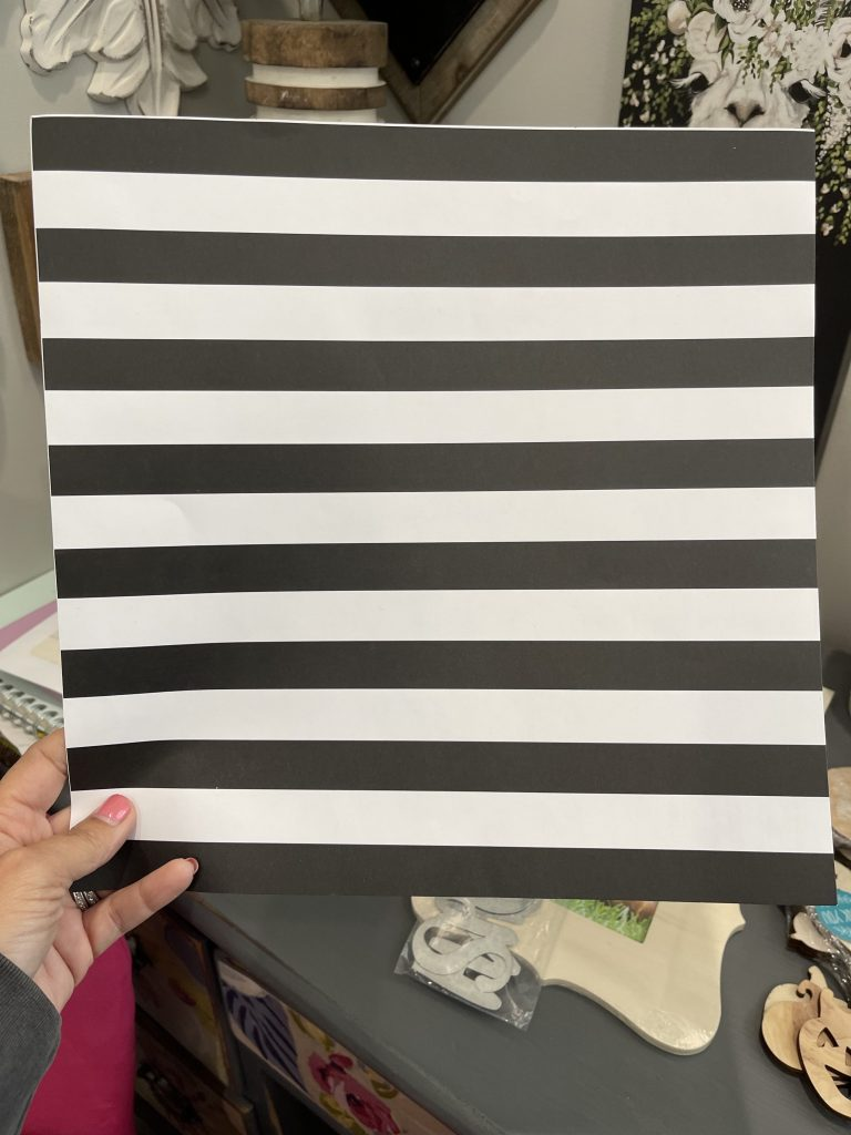 black and white stripe scrapbook paper from hobby lobby