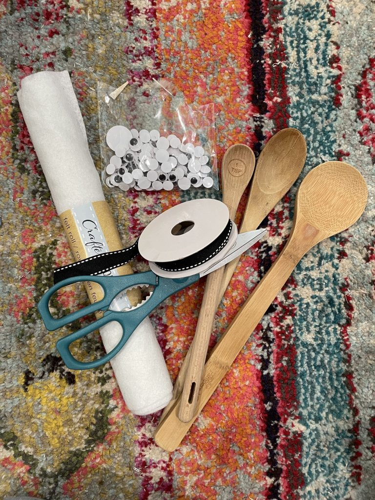 supplies needed for the diy wooden spoon ghosts
