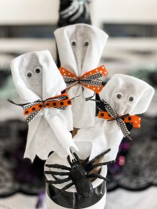 finished product of the wooden spoon ghosts