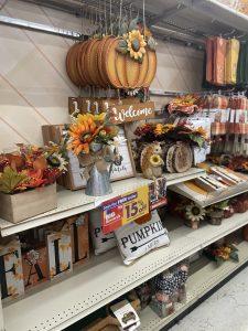 fall home decor aisle at big lots