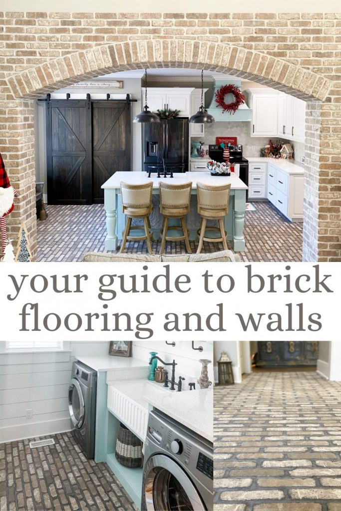 pinterest image for your guide to brick flooring