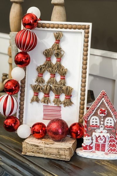 finished picture of tassel christmas tree sign