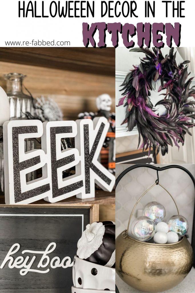 Halloween in the kitchen decor Pinterest image