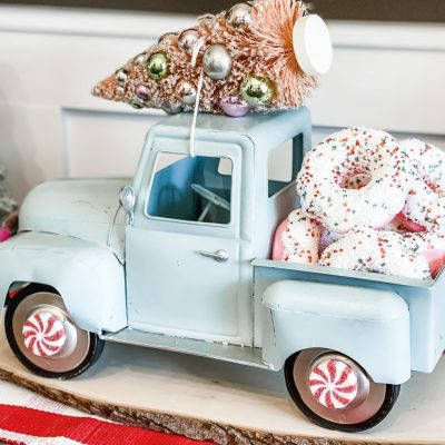aqua metal truck makeover for candy land christmas